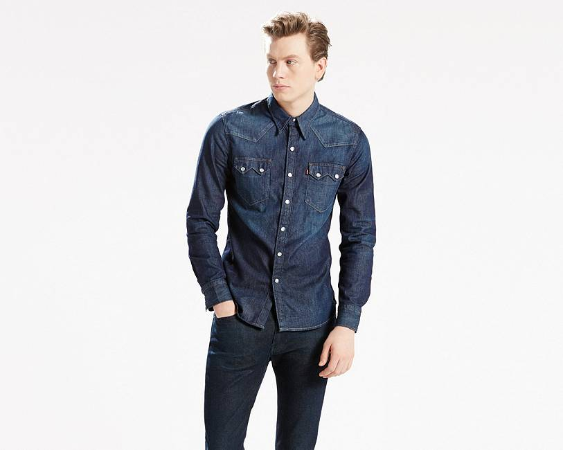 4ca285d969c YachtEZ LEVI® Denim Double Snap Pocket Sleeve SAWTOOTH Cowboy Western Shirt