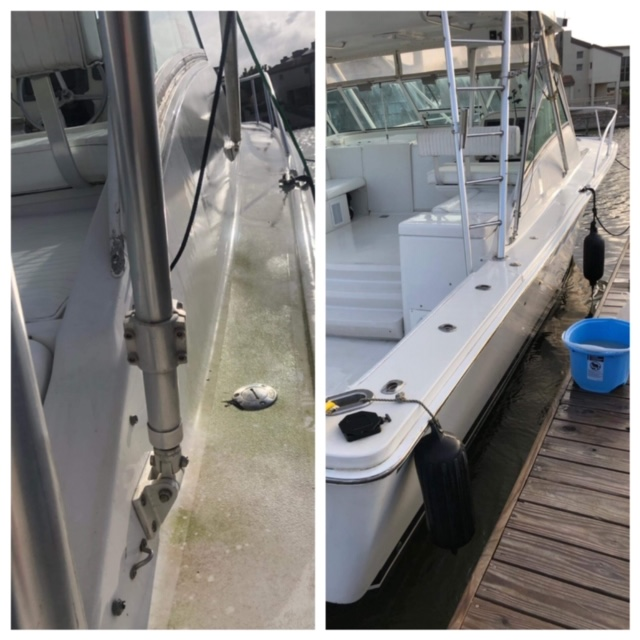 SPORTFISH GUNNEL BEFORE & AFTER CLEANING